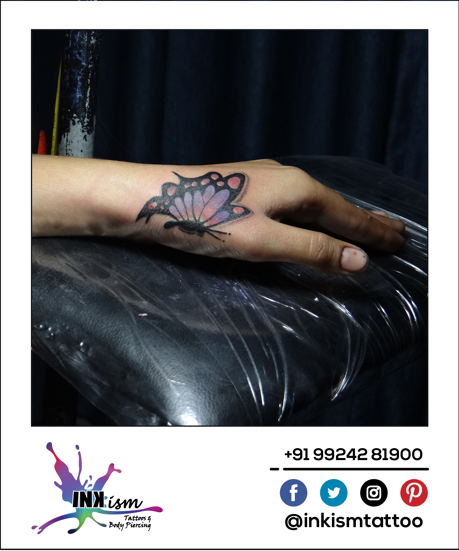 Butterfly Tattoo, Color Tattoo, Wrist Tattoo, Inkism tattoo and body piercing rajkot gujarat