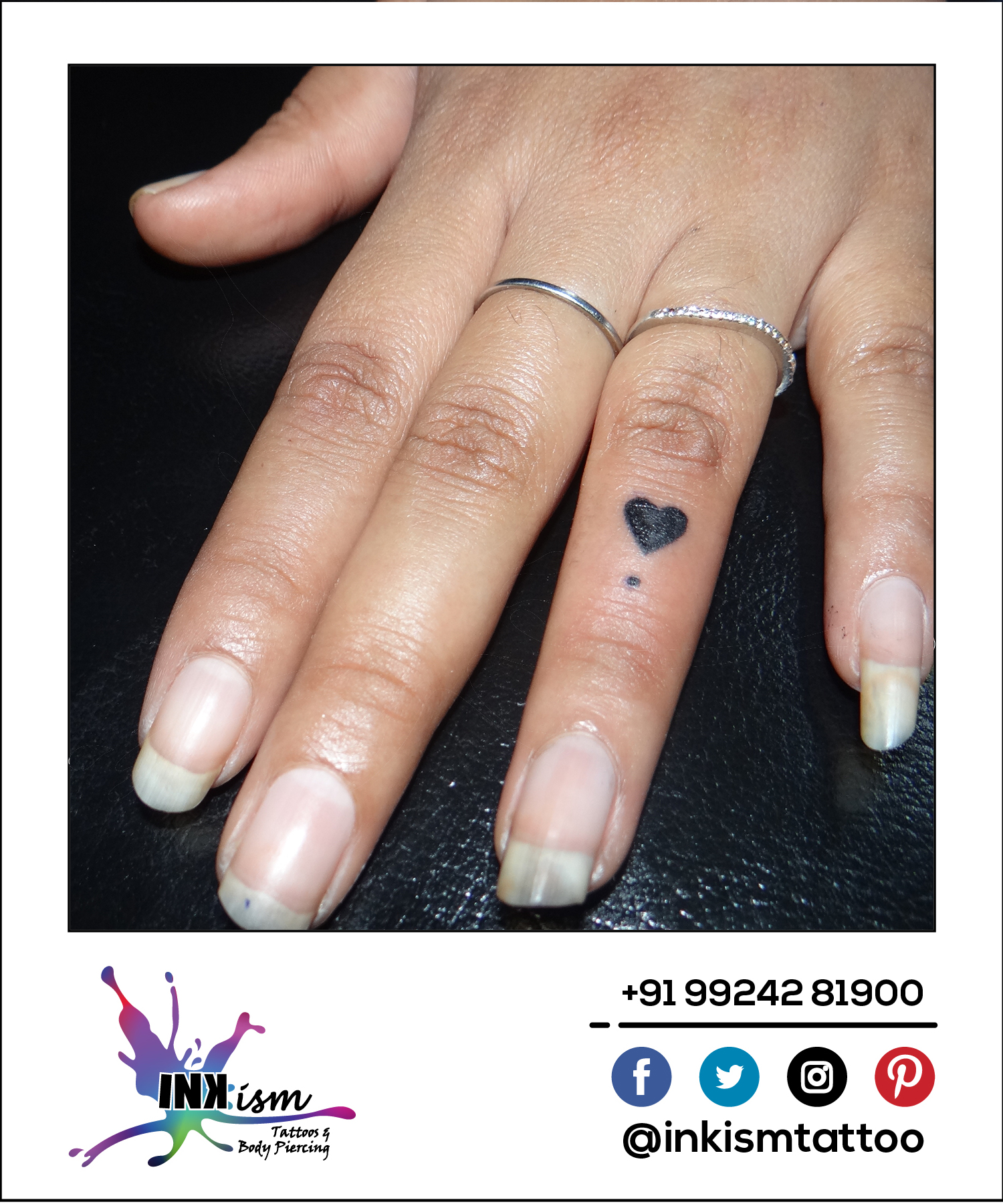 Heart and blood drop tattoo, Heart tattoo, Finger tattoo, Inkism tattoo and body piercing rajkot and gujarat