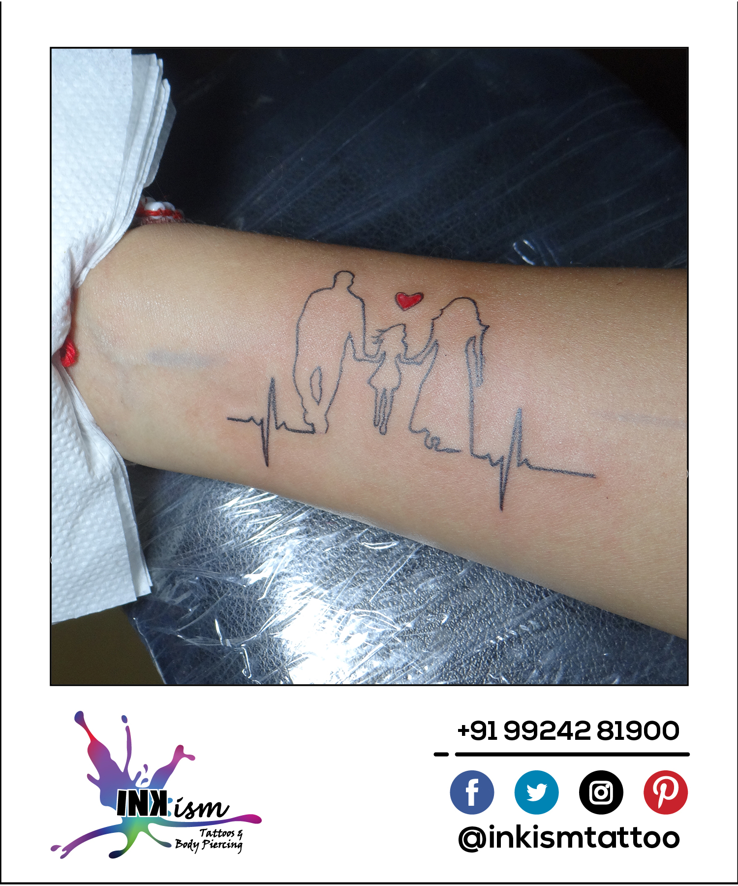 family heartline tattoo, mom dad daughter tattoo design, heart line tattoo, heart tattoo, Inkism tattoo and body piercing rajkot gujarat