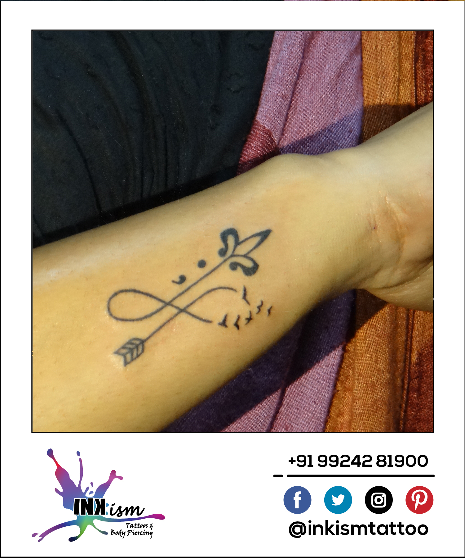 Infinity arrow tattoo, infinity tattoo, arrow tattoo, inkism tattoo and body piercing rajkot gujarat