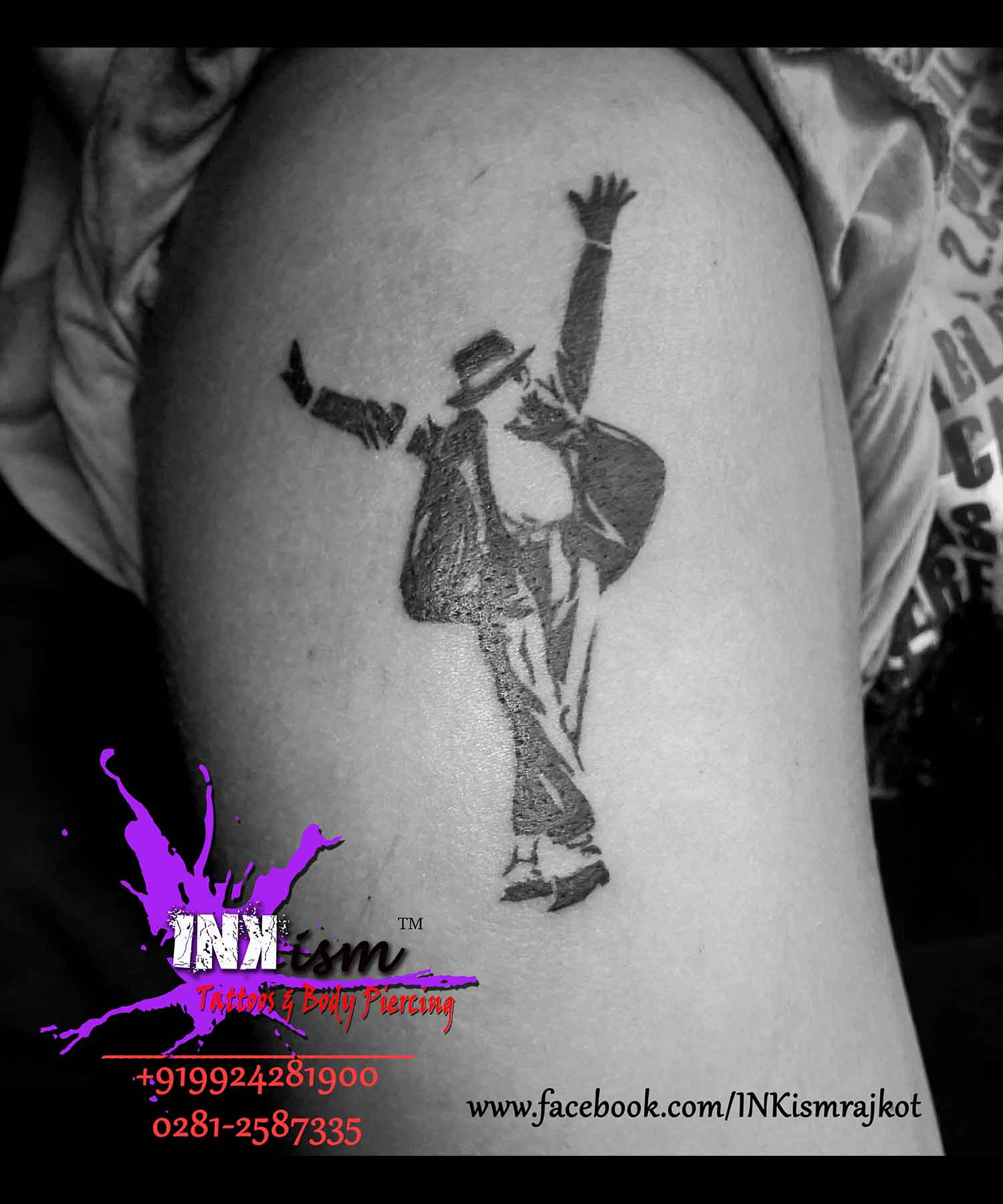 Micheal Jackson reverse Tattoo, Reverse tattoo, MJ Tattoo, Inkism Tattoo and body piercing rajkot gujarat