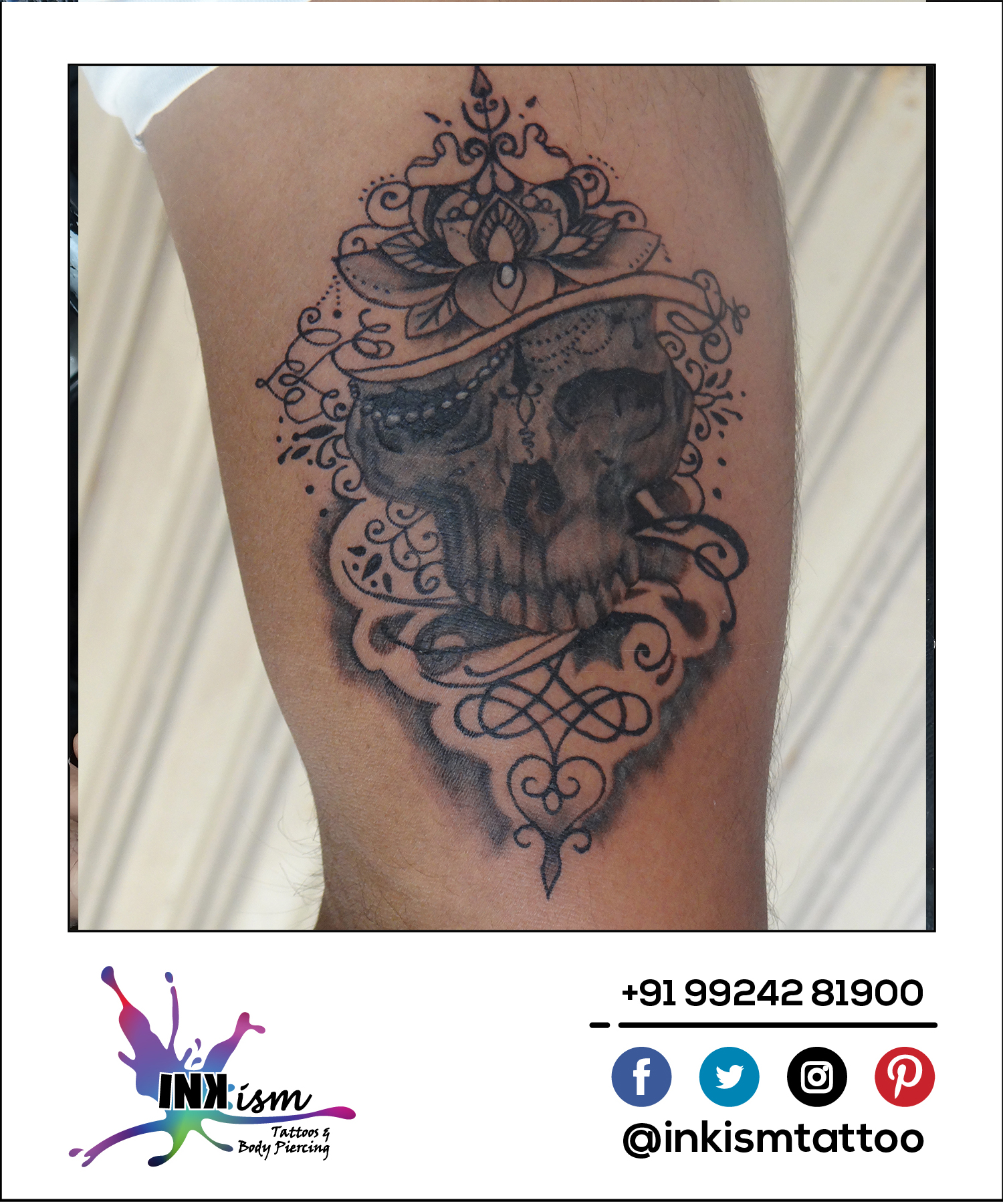 Grey wash tattoo, Skull tattoo, Lotus tattoo, Swirls Tattoo, Inkism tattoo and body piercing rajkot gujarat