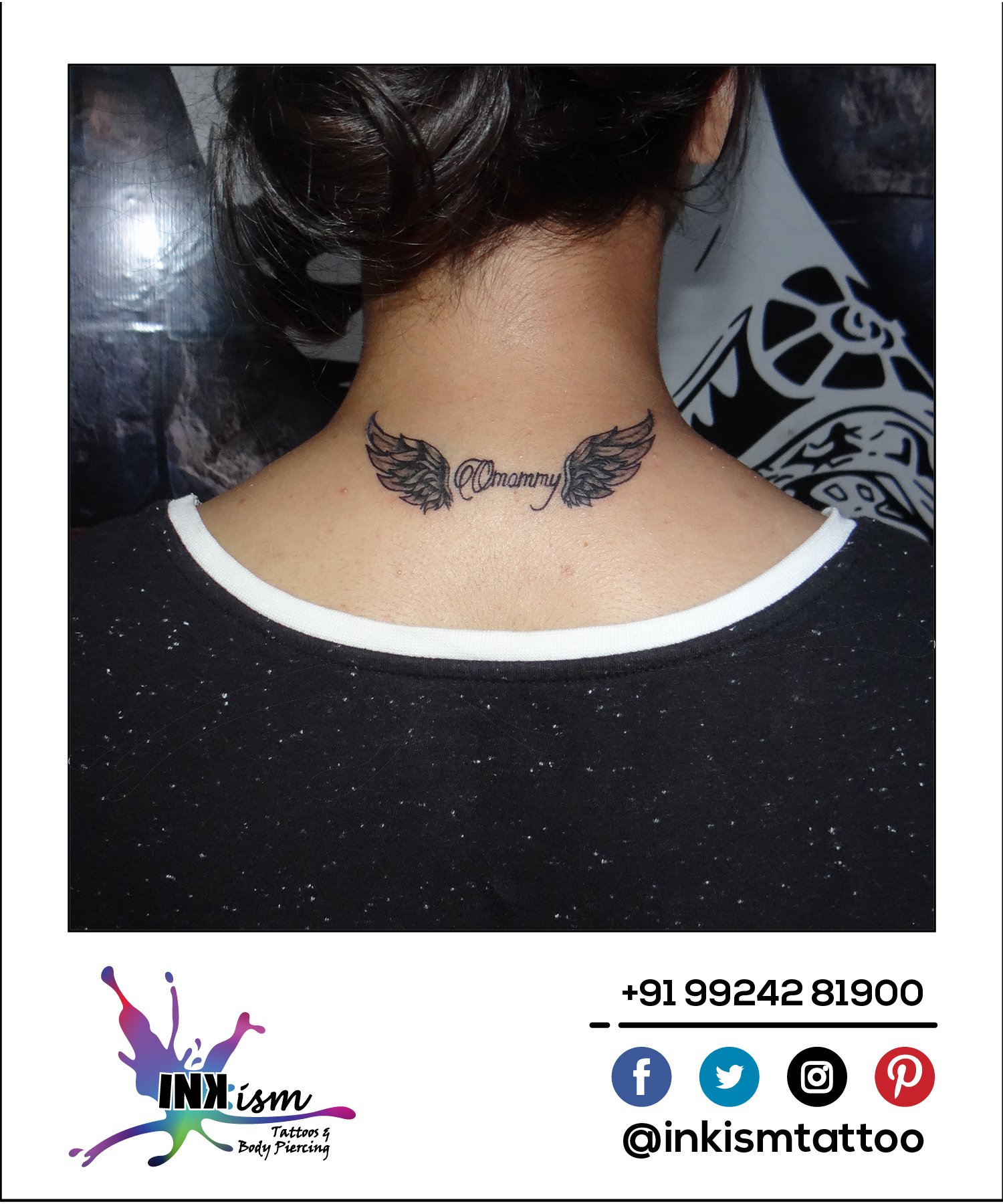 Wings with calligraphy name tattoo, Angle wings tattoo, Calligraphy tattoo, Inkism tattoo and body piercing rajkot gujarat