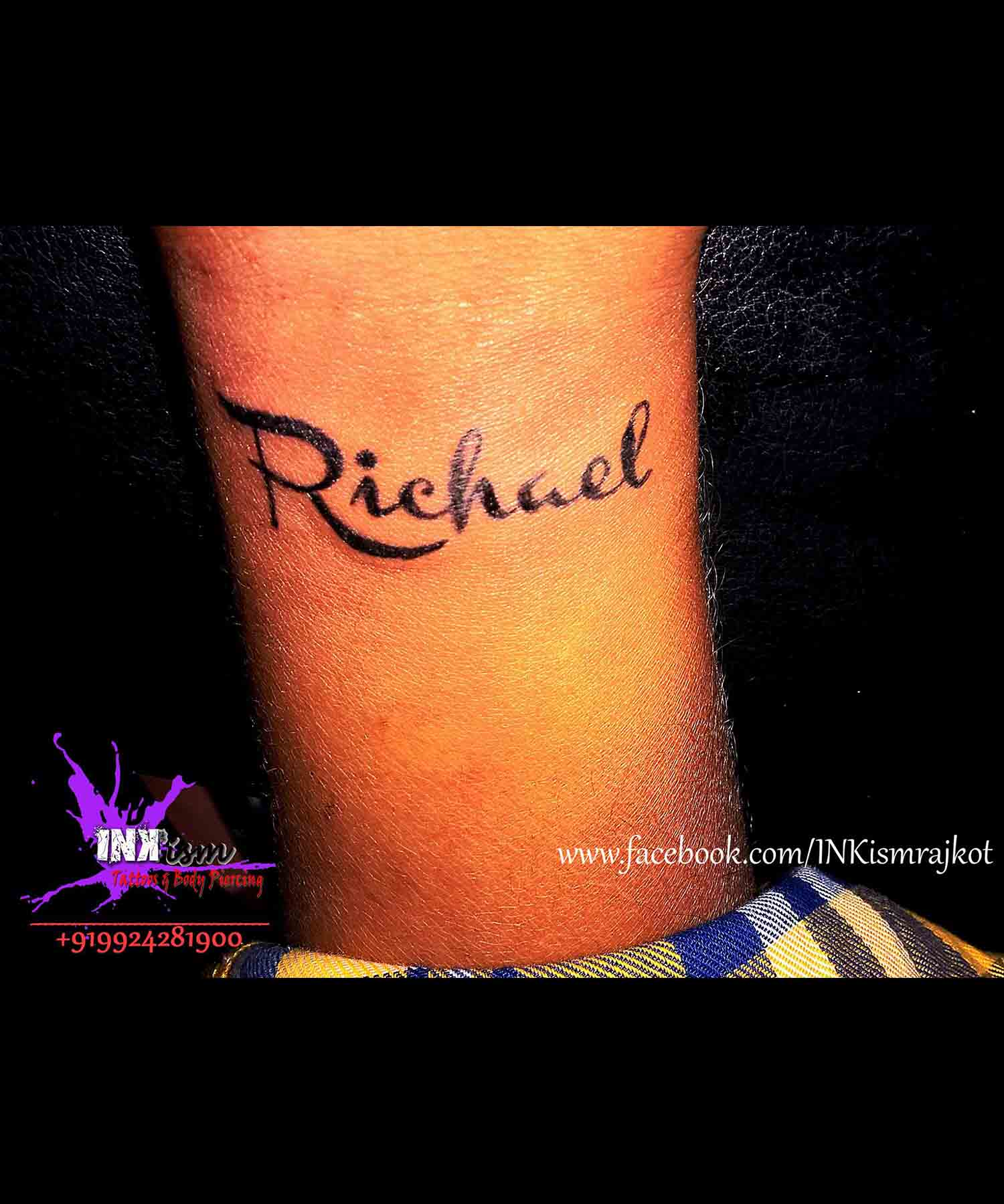 Calligraphy name tattoo, Daughters name tattoo, Inkism tattoo and body piercing rajkot gujarat