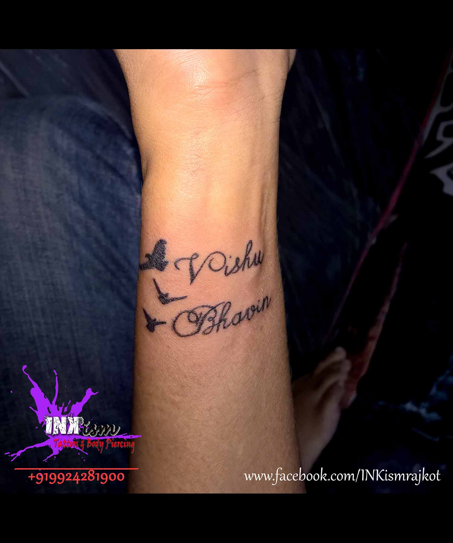 Calligraphy Tattoo, Birds tattoo, Inkism tattoo and body piercing rajkot gujarat
