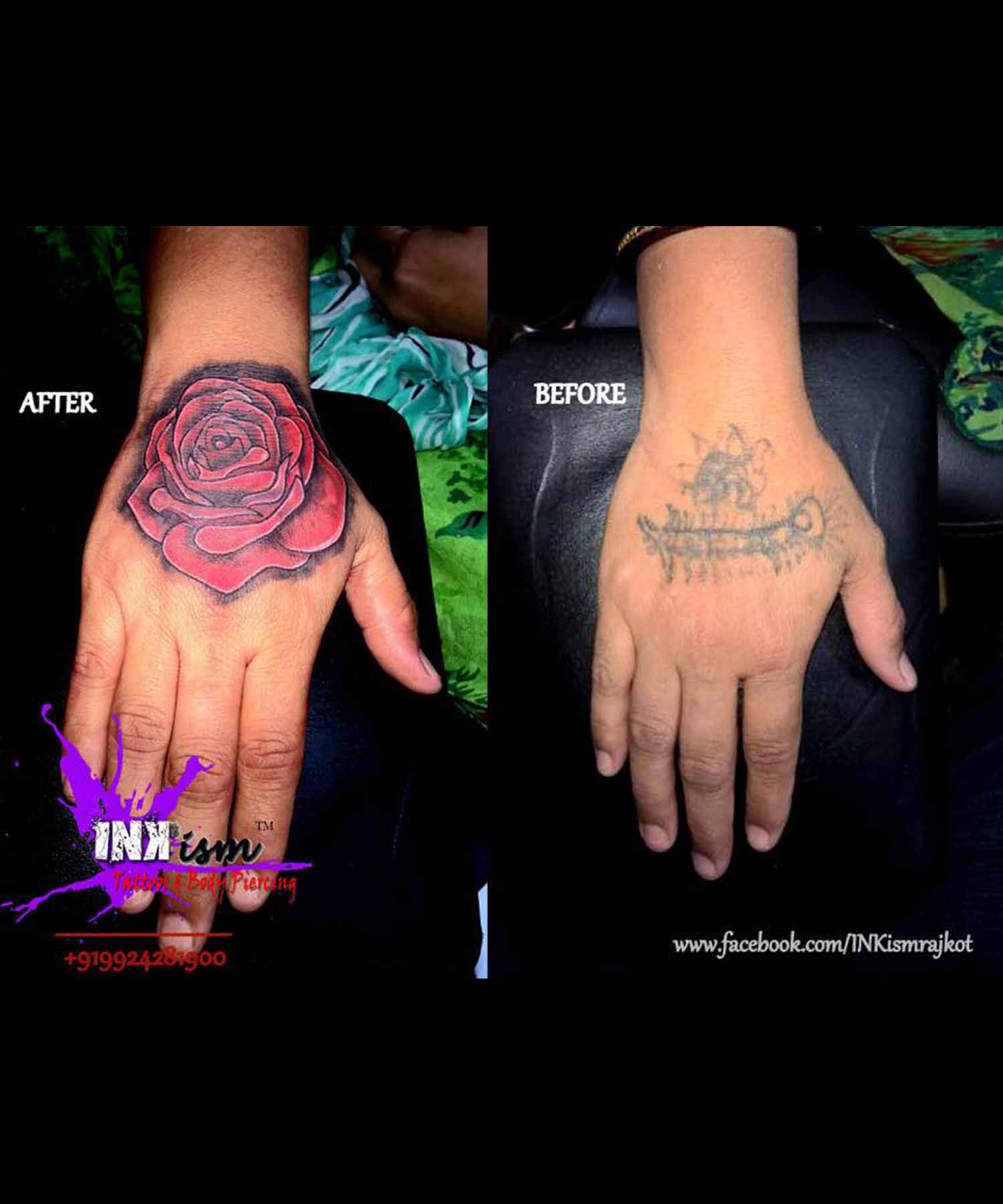 Rose realistic tattoo, Color tattoo, Coverup tattoo, rose tattoo, Inkism tattoo and body piercing rajkot gujarat