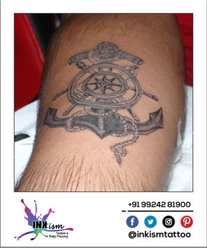 Anchor with spin wheel tattoo, Anchor tattoo, Grey wash tattoo, Inkism tattoo and boody piercing rajkot gujarat