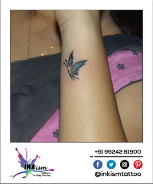 Colorful Butterfly tattoo, color tattoo, butterfly tattoo, inkism tattoo and body piercing rajkot gujarat