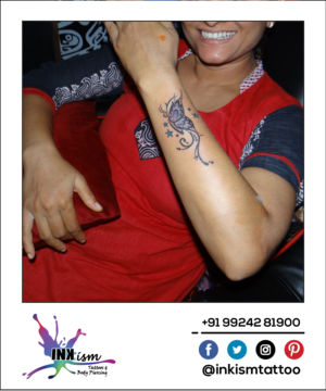 Butterfly with swirls tattoo, butterfly tattoo,swirls tattoo, stars tattoo, inkism tattoo and body piecing rajkot gujarat