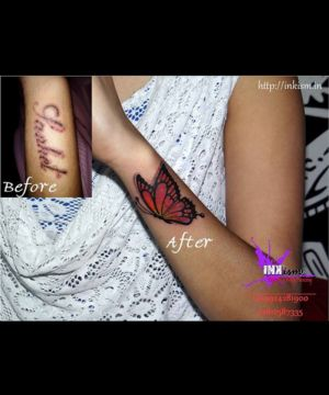 butterfly color tattoo, cover up tattoo, butterfly tattoo, inkism tattoo and piercing rajkot gujarat