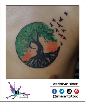 Circle of life Tattoo, Color tattoo, birds tattoo, tree tattoo, Inkism tattoo and body piercing rajkot gujarat