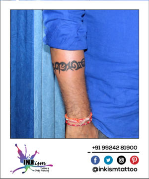 Tribal arm belt tattoo, tribal tattoo, belt tattoo, Inkism tattoo and body piercing rajkot gujarat