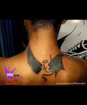 Angel and Demon wings tattoo, angel wings tattoo, Demon wing tattoo, calligraphy tattoo, Inkism tattoo and body piercing rajkot gujarat