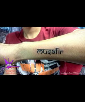 Musafir hindi english calligraphy, Musafir tattoo, Calligraphy tattoo, Inkism tattoo and body piercing rajkot gujarat