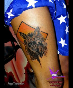 Wolf grey wash tattoo, Wolf tattoo, Color tattoo, jungle tattoo, Inkism tattoo and body piercing rajkot gujarat